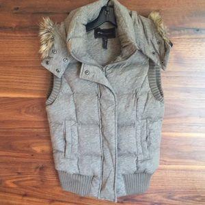Bcbg hooded down fur vest